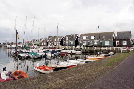 Netherlands,North Holland,Marken, june2016: Also the port from the port area is a busy part of Marken.