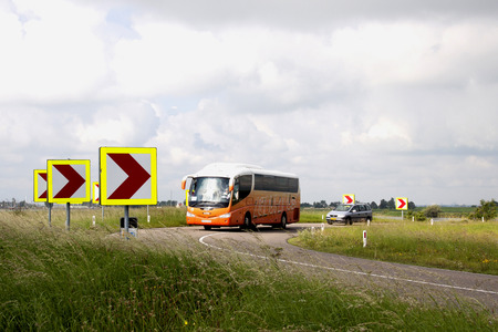 Netherlands,North Holland,Marken, june2016: The seawall is the only access to the former island by bus