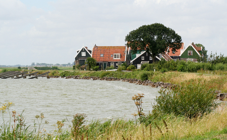 Netherlands,North Holland,Marken, june2016: coastal road of  the island of Marken