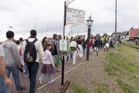 Netherlands,North Holland,Marken, june2016: Mass tourism in the village 報道画像