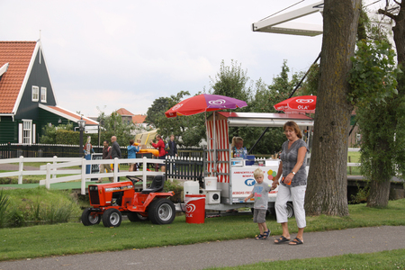 Netherlands,North Holland,Marken, june2016: An ice cream cart in Marken welcomes the flow of tourists