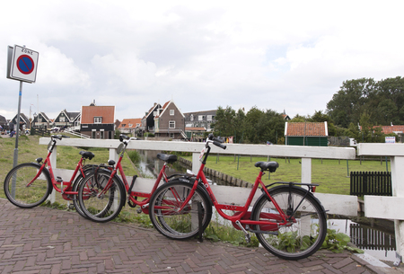 Netherlands,North Holland,Marken, june2016: Rental bikes in Marken