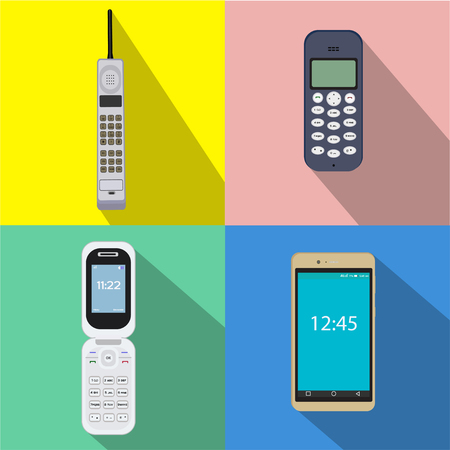 call history: cellular phone vector flat buttons mobile telephone Illustration