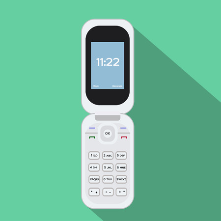 flip phone: Flip Cellphone vector flat mobile vector old Illustration