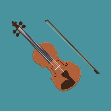 Fiddle violin music bow flat vector classic