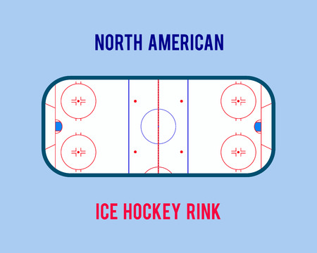 Vector ice hockey rink isolated on the white background. Top view illustration
