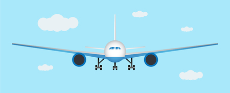 Airplane landing. Front view.Vector illustration eps 10