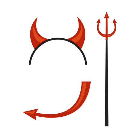 Devils horns head gear with trident and tail