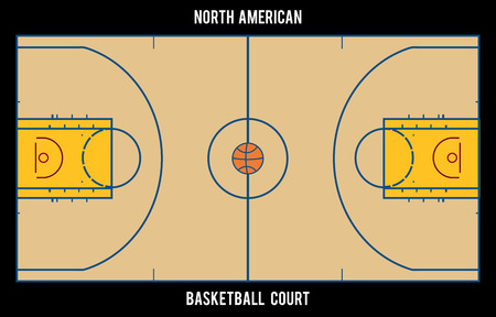 north american: North American basketball court.Top view illustration. Proper markings and proportions according standards