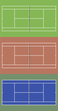deuce: Tennis courts set. Top view vector illustration