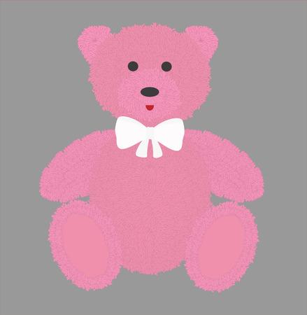 pink fur: Teddy bear with pink fur. Vector illustration