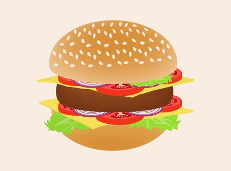 sesame: Hamburger or burger isolated on background. Side view illustration