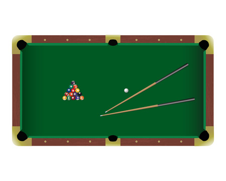 american table: American pool billiard table with a cue and balls isolated on a white background. Top view illustration Illustration