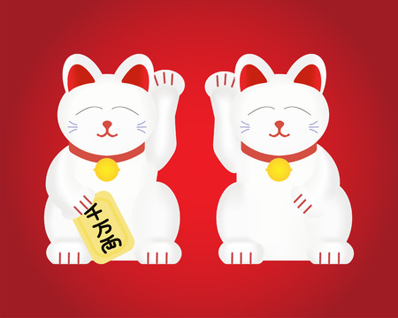 Maneki-neko or lucky cat . Vector illustration isolated on background Illustration