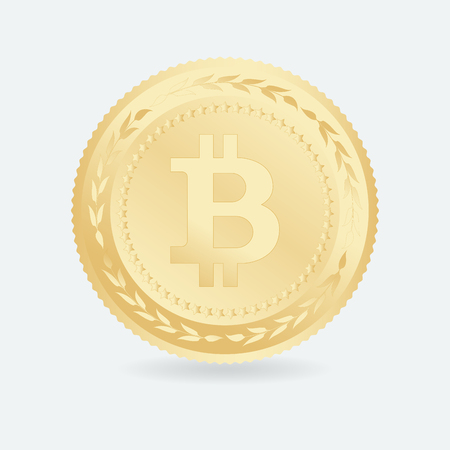 cryptography: Bitcoin. Gold coin with Bitcoin symbol. Cryptography currency