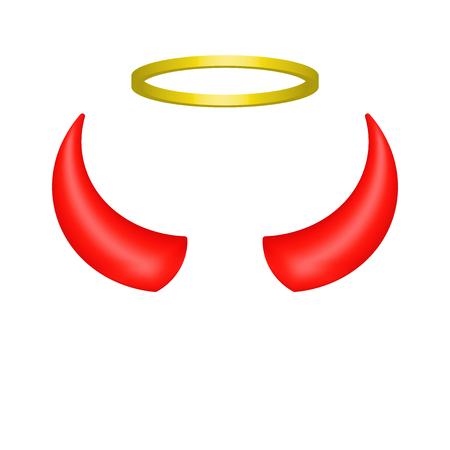 Red devil horns and angel halo. Vector illustration