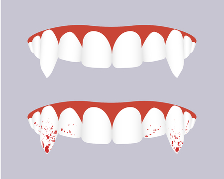 Vampire teeth with bloody fangs. Vector illustration