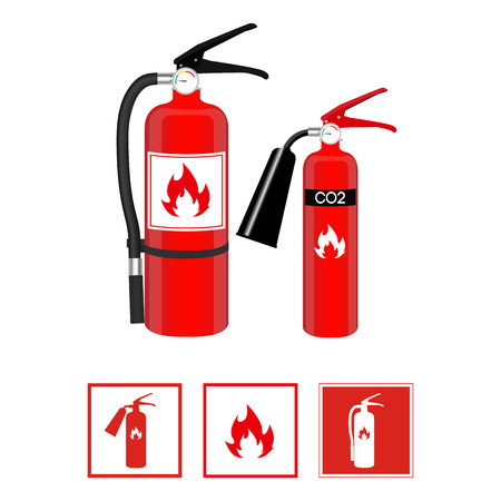 Fire extinguishers in realistic style and flat signs isolated on white background. Vector illustration.