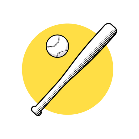 Baseball bat and ball. Vector illustration isolated on white background.