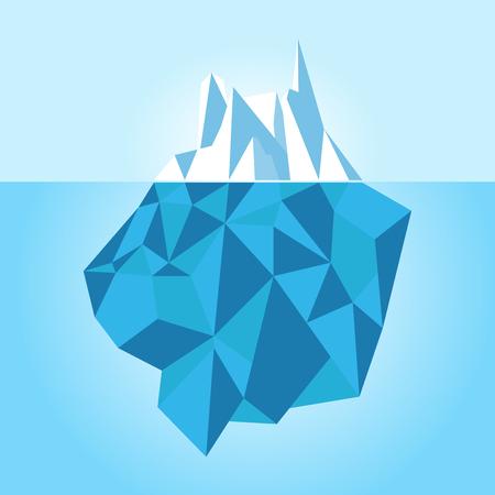 Low poly iceberg isolated on white background. Vector illustration. Illustration