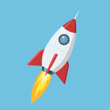 Flying cartoon rocket in flat style isolated on blue background. Vector illustration. Illustration