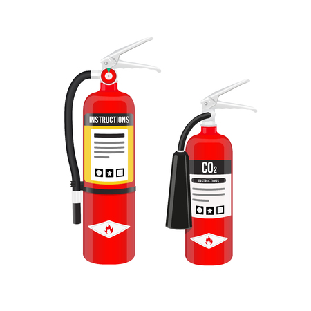 Fire extinguishers set in North American style isolated on white background. Vector illustration.