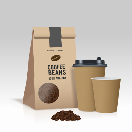 craft product: Realistic take away paper coffee cup and brown paper bag with coffee beans. Vector illustration. Illustration