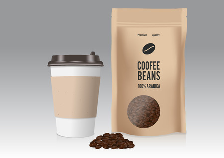 Realistic take away paper coffee cup and brown paper bag with coffee beans Vector illustration.