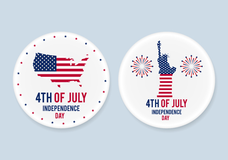nationalism: White steel patriotic pin badges set. 4th of july. Independence Day of America. Realistic mockup. Illustration