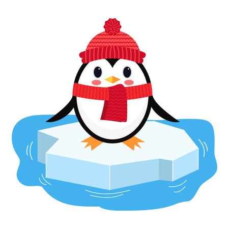 Cartoon penguin on ice chunk. Vector illustration isolated on white background