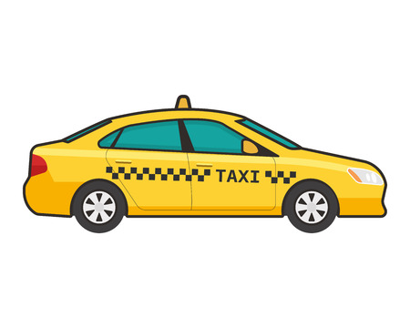 Taxi car icon. Vector flat line illustration. Pop art style.