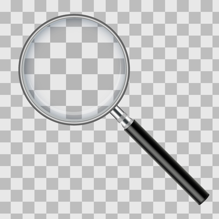 Realistic magnifying glass isolated on transparent checkered background. Vector illustration.