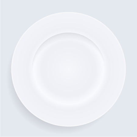 White empty porcelain plate. Vector illustration in realistic style. 일러스트