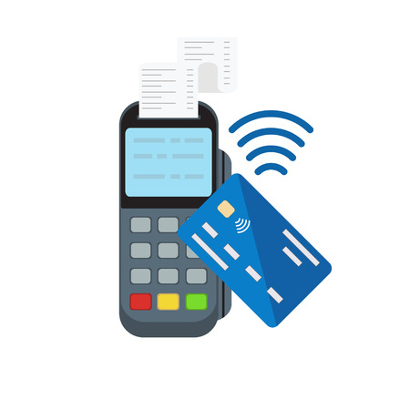 Contactless or wireless payment with posterminal and credit card . Flat style vector illustration Foto de archivo - 125310678