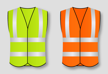 Reflective road safety vests isolated on background. Vector illustration Vector Illustration