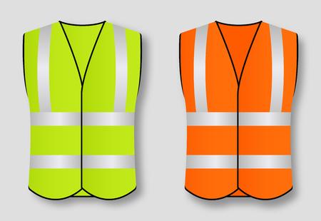 Reflective road safety vests isolated on background. Vector illustration Illustration