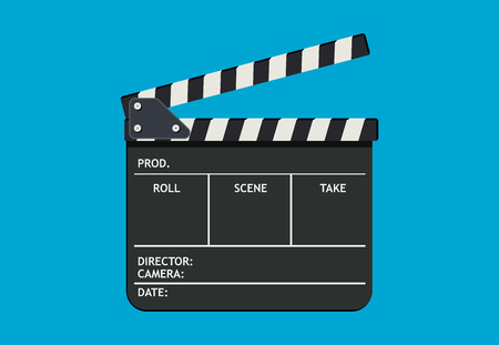 Black film clapper board slate. Flat style vector illustration isolated on blue background