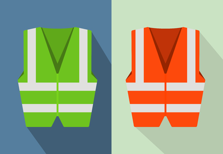 Reflective road safety vests isolated on background. Flat style vector illustration