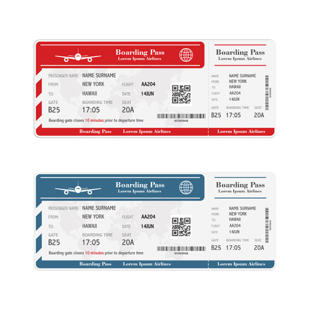 Conjunto de billetes de la tarjeta de embarque de la aerolínea aislado en blanco