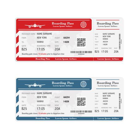 Set di biglietti per la carta d'imbarco della compagnia aerea isolati su bianco