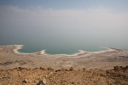 Foggy sky at Dead Sea in Israel with view on Jordan