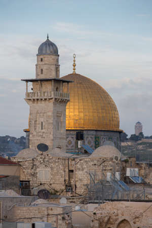 El-Ghawanima Tower with Dome of the Rock at the background