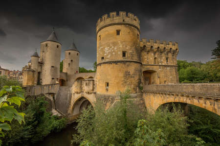 Porte des Allemands (German's Gate) in Metz, France with very dark clouds, just before a thunderstorm Editorial