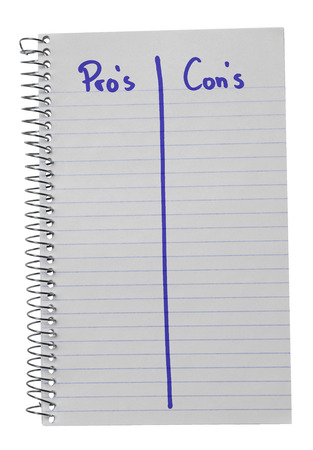 cons: Notebook on a white background counting pros and cons