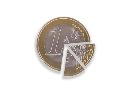 Euro coin split into several pie pieces on a white background