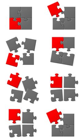 Jigsaw puzzle pieces in various colours in different configurations on a pure white background Zdjęcie Seryjne