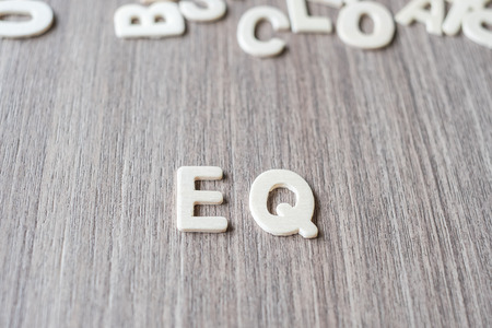 EQ word of wooden alphabet letters. Business and Idea concept Stock fotó