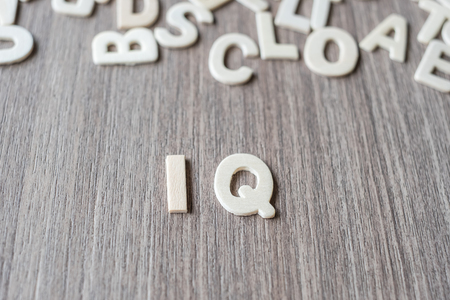 IQ word of wooden alphabet letters. Business and Idea concept