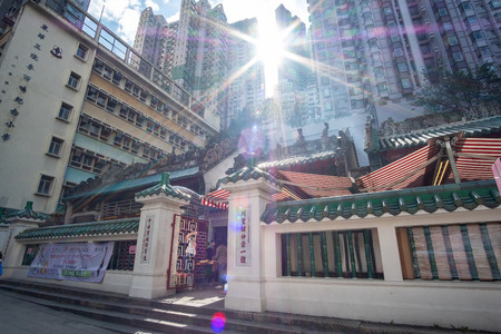 Man Mo Temple at Hollywood road, Sheung Wan district, landmark and popular for tourist attractions; Hong Kong, China, 18 December 2018