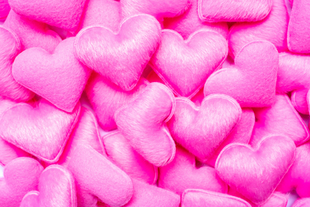 pink heart shape decoration background. Love, Wedding, Romantic and Happy Valentine' s day holiday concept